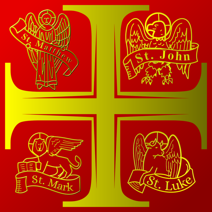 An image of a stylized cross that looks like a plus sign over a red background. It is gold in color. Outside the cross, in each corner of the image is the Tetramorph. These are four shapes of winged creatures that represent the different Gospels. Clockwise from the top-left are Matthew, John, Luke, and Mark. They are represented by a man, an eagle, a bull, and a lion respectively.