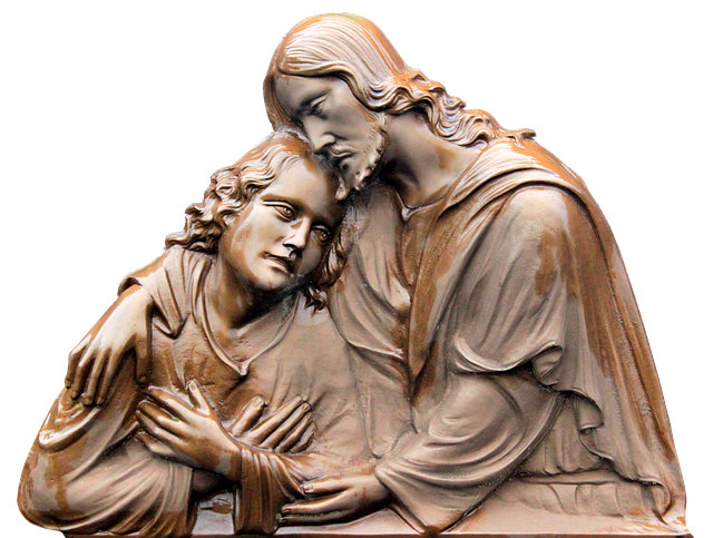 A boy is resting his head on Jesus' shoulder. Jesus responds by placing His arms around the boy as a sign of care and protection.