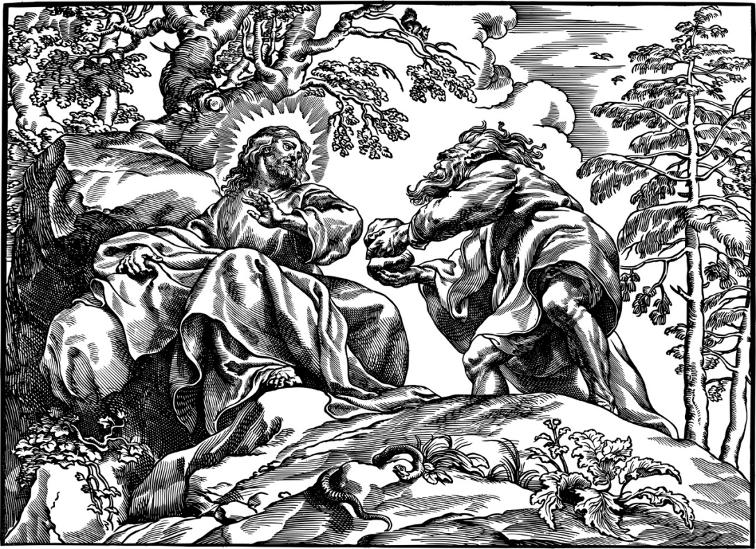This is a line drawing of Jesus being tempted by the devil. Jesus is sitting amongst stones with a little bit of vegetation near His feet. A snake can be seen next to the grasses. The devil, who looks like a beast of some sort, is next to Jesus. He is holding something in his hands.