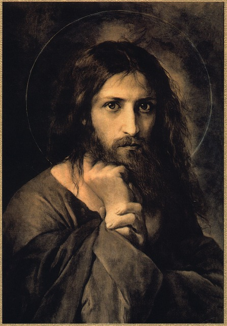 A painting by El Greco of Jesus staring at us. His right hand is on His chin and the left is grasping His wrist. He looks entirely human, but His eyes are piercing in an incredible way.