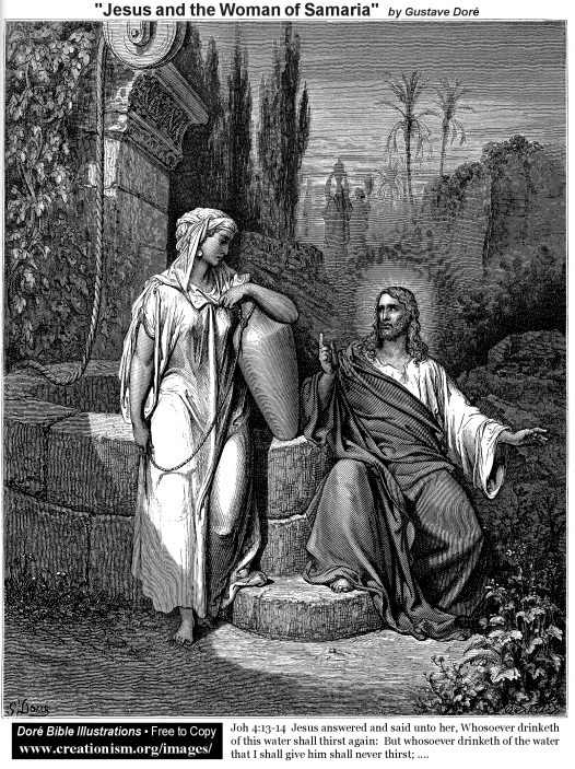 Jesus and the Woman of Samaria by Gustave Dore. The Samaritan woman is standing next to Jacob's Well with a jar under her arm. She is looking at Jesus. He is sitting next to the well with his right arm just above it. His left arm is outstretched, as He is in the middle of a teaching gesture.