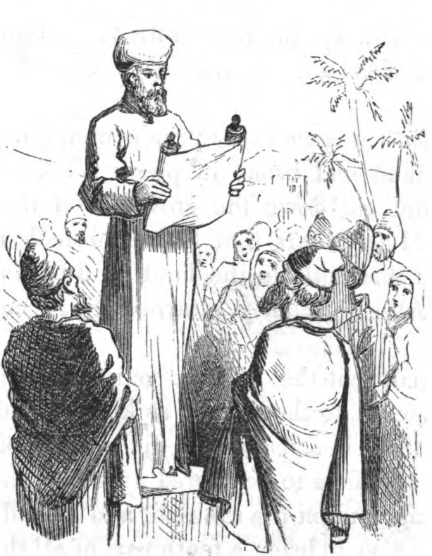 A line drawing of a Levite reading the law to the people.