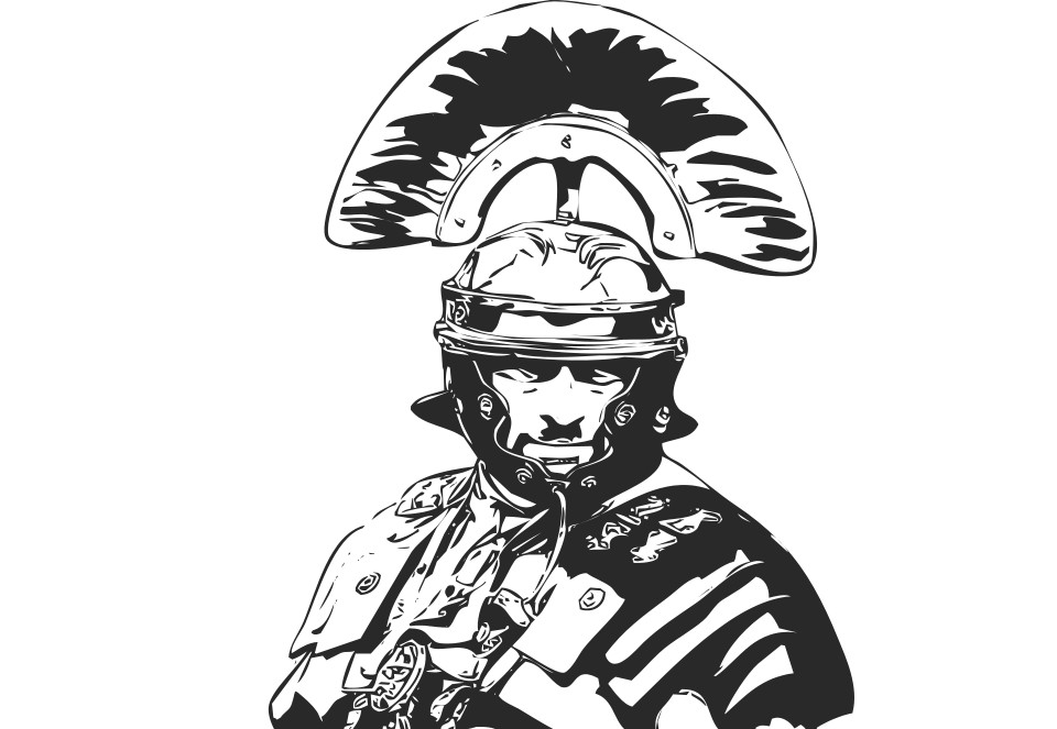 A line drawing of a Roman Centurion. The upper portion of his armor, with his distinctive helmet, can be seen. He is staring at the camera.