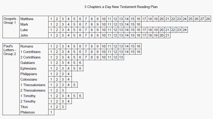 "An image of the top part of the ""3 Chapters a Day New Testament Reading Plan."""