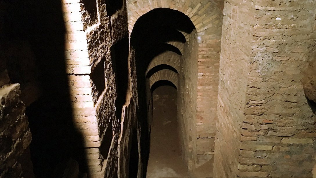 A photo of an ancient Roman catacomb.