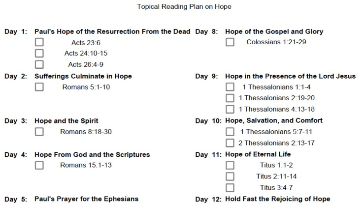 The top part of the Topical Reading Plan on Hope.