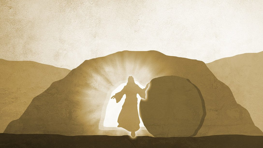 An illustration of Jesus walking out of His tomb.