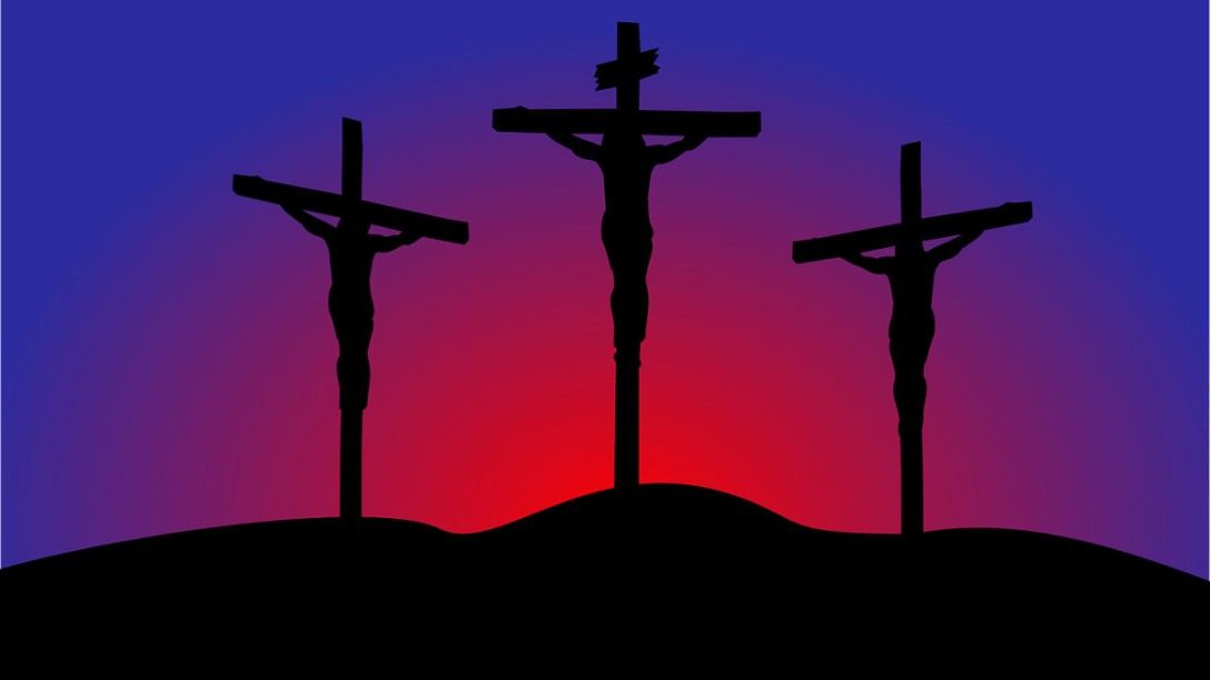 An illustration showing Jesus and the two criminals hanging from their crosses.