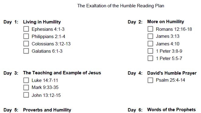 The top part of The Exaltation of the Humble Reading Plan.
