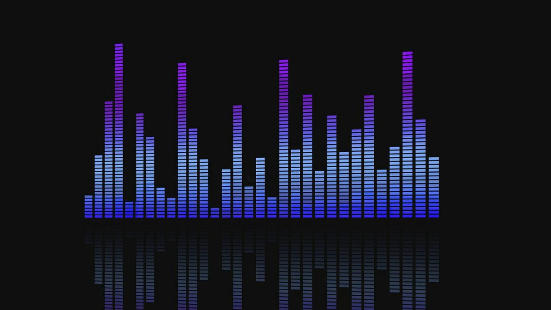 An equalizer showing vertical bars indicating different volume levels of sound channels.
