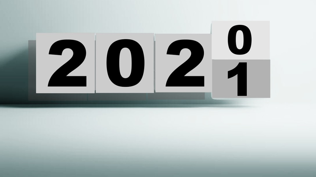 "The year 2020, with the last ""0"" rotating upward to change to a ""1."""