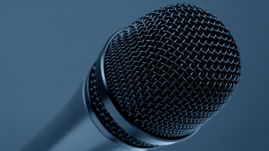 An extremely close-up view of the end of a microphone.